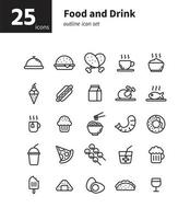 Food and drink outline icon set. Vector and Illustration.