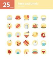 Food and drink flat icon set. Vector and Illustration.