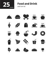Food and drink solid icon set. Vector and Illustration.