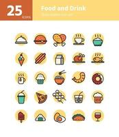 Food and drink filled outline icon set. Vector and Illustration.