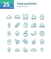 Food and drink gradient icon set. Vector and Illustration.