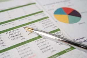 Pen on chart or graph paper. Financial, account, statistics and business data concept. photo