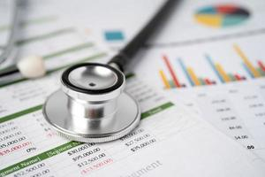 Stethoscope and calculator on chart graph paper, finance, account, statistic, analytic economy Business concept. photo