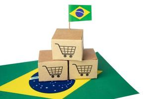 Shopping cart logo with Brazil flag, Shopping online Import Export eCommerce finance business concept. photo