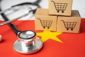 Shopping cart logo with China flag, Shopping online Import Export eCommerce finance business concept. photo