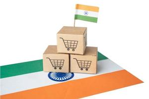 Shopping cart logo with India flag, Shopping online Import Export eCommerce finance business concept. photo