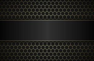 Geometric polygons background with free space for your text. Abstract black and gold metallic wallpaper. Simple vector illustration
