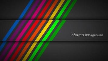 Modern rainbow colored lines on black background. Vector illustration for your presentation