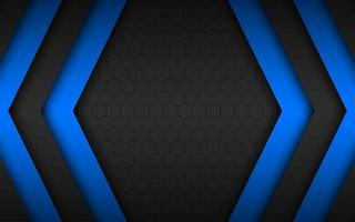 Black and blue overlap arrows abstract background with polygonal pattern. Modern material design. Widescreen background vector