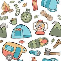 Camping Seamless Pattern in Flat Design Style vector