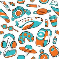 Travel Seamless Pattern in Flat Design Style vector