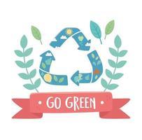 recycle flora fauna go green environment ecology vector