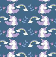 unicorns rainbows flowers fantasy magic dream cute cartoon vector