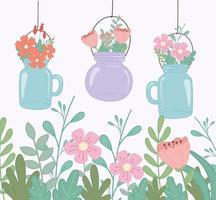 mason jars with flowers foliage decoration vector