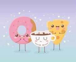 donut cheese and chocolate cup kawaii food cartoon character design vector