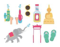 songkran festival elephant sunglasses buddha sandals bottle icons vector