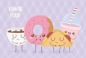 donut chocolate cup donut taco smoothie kawaii food cartoon character design vector