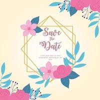 flowers wedding, save the date, elegant flowers decoration card vector