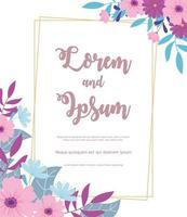 flowers wedding, flower decorative frame celebration card vector
