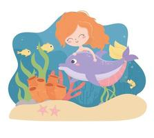 mermaid dolphin fishes shrimp starfish coral cartoon under the sea vector