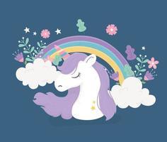 unicorn rainbow clouds flowers fantasy magic cute cartoon vector