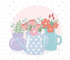 mason jars and watering can flowers leaves decoration vector