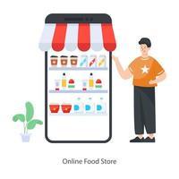 tienda de comida online vector