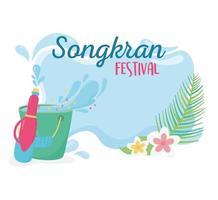 songkran festival plastic water gun bucket flowers vector
