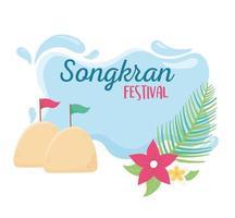 songkran festival sand flags flowers celebration vector