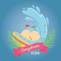 songkran festival thailand bowl with water celebration vector