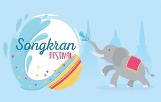 songkran festival elephant water bowl splash poster vector