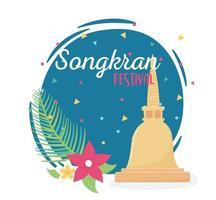 songkran festival pagoda thai place flowers vector