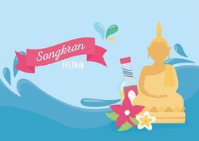songkran festival water splash buddha bottle flowers card vector