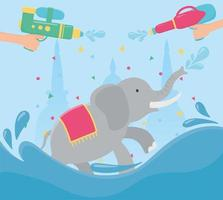 songkran festival hands with water guns and elephant vector