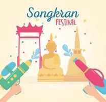 songkran festival hands with water guns landmark thailand vector