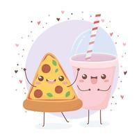 pizza and soda cup kawaii food cartoon character design vector