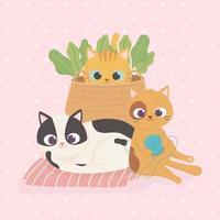 gatos domésticos con bola de lana cesta de mimbre plantas dibujos animados vector
