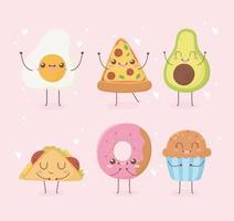 fried egg pizza avocado donut cupcake taco kawaii food cartoon character design vector