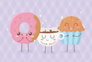 donut cupcake and chocolate cup kawaii food cartoon character design vector