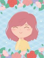 young woman flowers frame checkered background cartoon vector