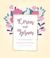 flowers wedding, save the date, announcement nature floral postcard vector