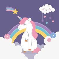 unicorn shooting star cloud hearts rainbow clouds fantasy magic dream cute cartoon vector