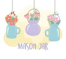 hanging mason jars with flowers leaves decoration vector