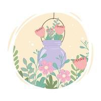 mason jar with flowers foliage leaves decoration vector