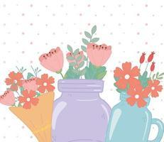 mason jars and bouquet flowers floral foliage decoration vector