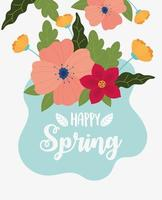 happy spring flowers foliage nature badge decoration vector