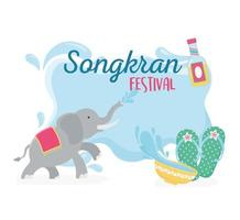 songkran festival elephant sandals and bowl with water vector