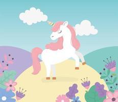 unicornio prado flores naturaleza fantasía magia lindas dibujos animados vector