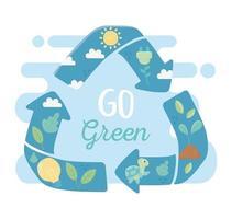 go green recycle energy fauna flora environment ecology vector