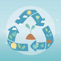 growth plant recycle fauna environment ecology vector